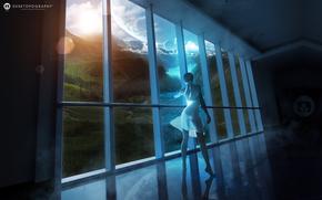 фэнтези мир, девушка, платье, окно, вид, пейзаж, планеты, облака, река