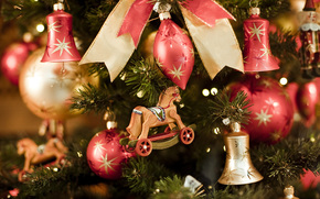 Tree, spruce, Christmas decorations, Toys, Bells, Horse, Wood, bow, New Year