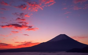 Fuji, clouds, purple