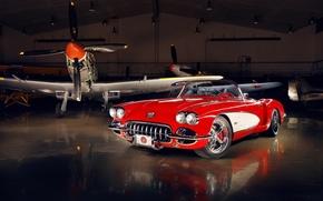 Chevrolet, Corvette, c1, 1959, Custom, by Pogea Racing, шевроле, корвет, с1, кастом, классика, тюнинг, tuning, красный, диски, передок, самолёты, ангар, полумрак, автомобили, машины, авто
