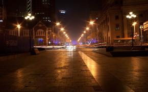 city, boulevard, lights, lights, night, metro, inscriptions