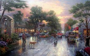 томас кинкейд, живопись, городок, улица, проспект, аллея, дорога, автомобили, ретро, колокол, здания, закат