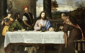 Тициан Вечеллио, король живописцев, Лувр, картина, Ужин в Эммаусе, Христос, ученики, сюжет из библии, хлеб, вино, белоснежная скатерть, жест, собачка