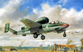 aviation, heinkel he volksjager 162, Heinkel, fighter, jet-fighter, Salamander, salamander, Luftwaffe, German single-engine jet fighter, he 162