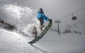 Snowboard, tabla de snowboard, nieve, caso, Montaas, bosque, Spruce salto, truco, pelcula