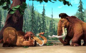 мамонты, бивни, ледниковый период, мех, мультфильм, мэнни, элли, десятитонный мамонт, девятитонный опоссум