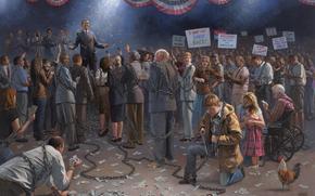 Barack Obama, Putin, club, personas, cadena, gallo, dinero, Dlares