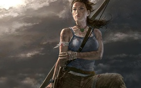 Lara Croft, girl, bandage, onion, blood