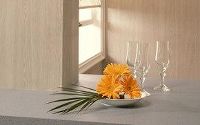 ventana, gafas, fecha, ramo de gerberas