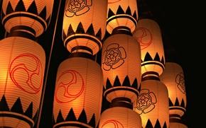 япония, фонари, вечер