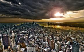 citt, New York, cielo, nuvole, Grattacieli, edificio