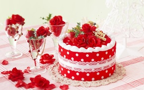cake, Cake, sweet, delicious, Sweets, goodies, holiday, Christmas, Holidays, mood, joy, Rose, Flowers, flower, Petals, red, goblet, glasses, Jewelry, strawberry, Berries, Tree, Tree, herringbone, herringbone, table, tablecloth