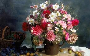 mazzo di fiori, vaso, frutta