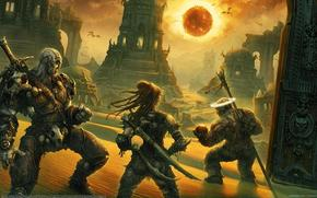 Fantasy, ruins, Tower, destroyed buildings, gate, dark sun, bloody sunset, dangerous journey, darkness, dying world, Warriors, Swords, staff, armor, flying dragons