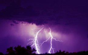 Thunderstorm, light, night