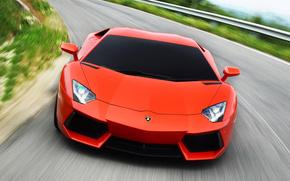 Lamborghini, Aventador LP700-4, beb, luces, carretera, fondo, coches, Maquinaria, Coche