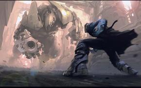 робот, человек, фантастика, битва