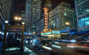 Chicago, night city, lights, building, metro