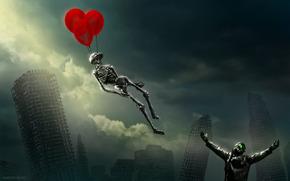 romanticismo dell'apocalisse, pilota, scheletro, palloncini, Grattacieli