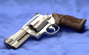 Smith & Wesson, revolver, chrome, Handle, Canvas, background
