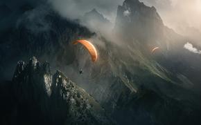 парашют, природа, горы, полет, туман, скалы, парашютисты, свет, спорт