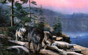 Wolves, cliff, Trees, sky.