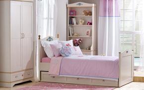 Pink Room, letto, mobile, tenda, finestra, Scaffali, libri, Cuscino, Fiori in un vaso