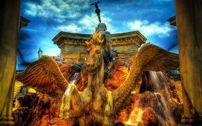 caesars palace, las vegas, fountain, Pegasus