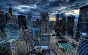Chicago, Chicago, edificio, Grattacieli, fiume, ponti
