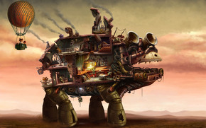 арт, фантастика, робот, дом, существа, воздушный шар, фантазия