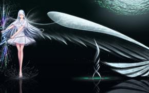 арт, Девушка, флейта, крыло, вода, брызги, магия, отражение