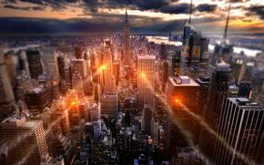 нью-йорк, город, свечение, США
