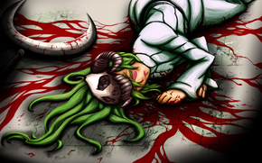 Art, girl, skull, weapon, on the floor, blood, green hair