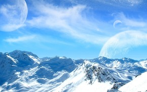 Mountains, snow, cold, sky, moon, planet