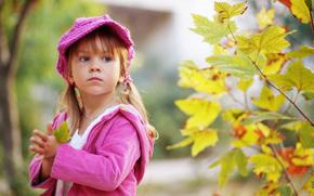 Little Girl, child, children, and childhood, sorrow, sad, nature, autumn, leaves, single