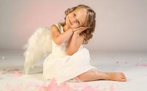 Little Girl, anio, skrzydeka, upierzenie, adny, pikny, pikny, dziecko, dzieci, dziecistwo, szczcie, rado
