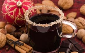 New Year, holiday, New Wallpaper, scenery, drink, mug, sugar, cinnamon, chocolate, Nuts