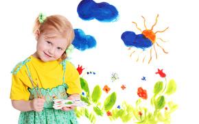 Little Girl, pikny, pikny, adny, niebieskie oczy, szczcie, rysowa, rysunek, artysta, kolor, rado, soce, kwiaty, chmury, malarstwo, dziecko, dzieci, dziecistwo