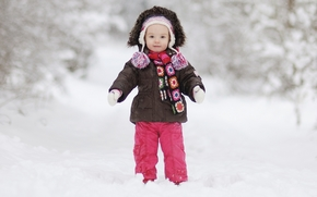 dziewczynka, samotny, zima, adny, pikny, elegancki, szczcie, rado, dziecko, dzieci, dziecistwo, nieg, paszcz