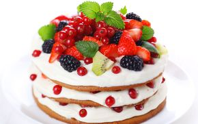 Cake, Berries, strawberry, blackberry, currant, kiwi
