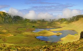 вулкан, кратер, Озеро, Португалия, Азорские острова