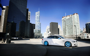 BMW, white, concrete blocks, shadow, city, megalopolis, Skyscrapers, bmw