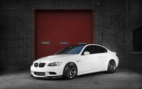 BMW, white, brick wall, bmw