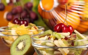 фрукты, салат, черешня, киви