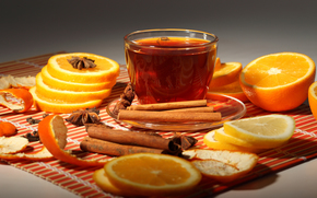 cup, tea, oranges, cinnamon