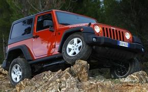 джип, ренглер, рубикон, джип, внедорожник, передок, колёса, камни, крен, Jeep
