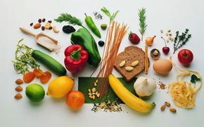 овощи, хлеб, макароны, рис, приправы, полезное