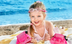 happy girl swimmer, child, children, happiness, cute, beautiful, joy, funny, beach, summer, sea