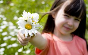 romantyczn dziewczyn, adny, pikny, dziecko, dzieci, szczcie, kwiaty, Roses, Sonecznik, umiech