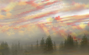 foresta, cielo, alba, nebbia, foschia, Photoshop